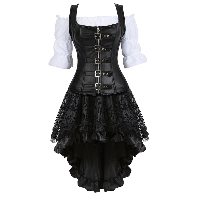 Plus Size 6XL Steampunk Corset Dress For Women Three-piece Leather Corset With Skirt And Renaissance Shirt Gothic Pirate Costume