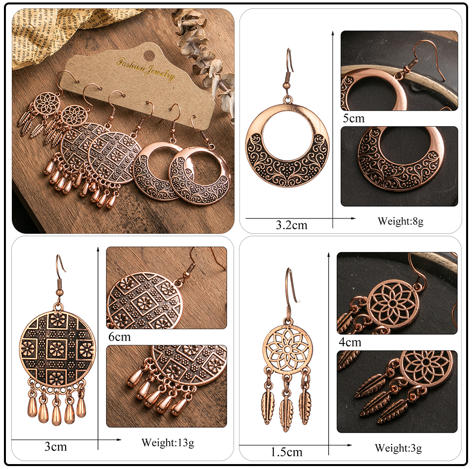 Ethnic Rose Gold Metal Tassel Fringe Womens Earrings Sets Jewelry Bohemia Vintage Round Circle Leaf Butterfly Geometric Drop Earrings Dropshipping Wholesale (3)