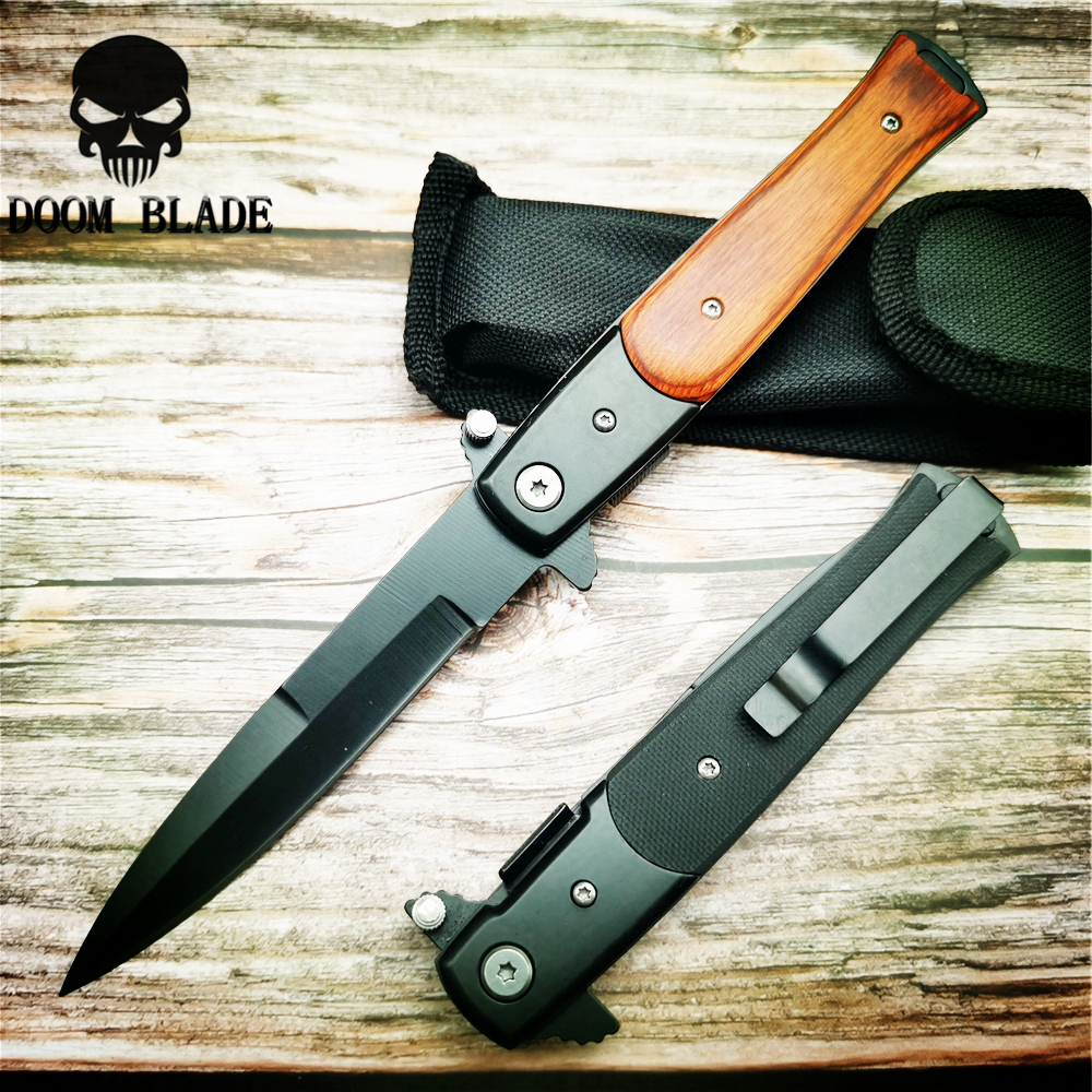 225mm 5CR15MOV Blade Quick Open Knives AKC 58HRC Outdoor Portable Pocket Camping Tactical Folding Knife Combat Military Knifes