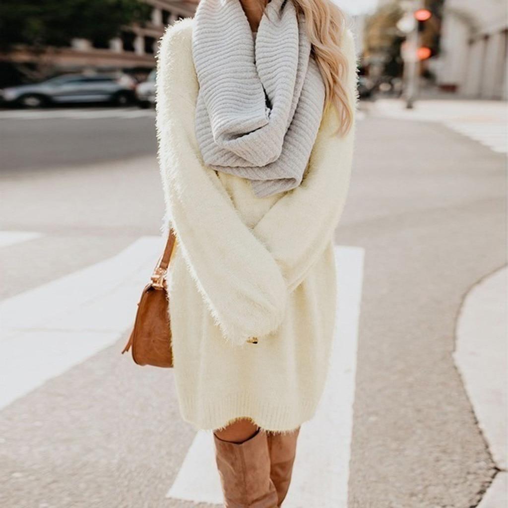 vestido de mujer Women Winter Sweater Knit Turtleneck Warm Long Sleeve Pocket Mini Sweater Dress femme