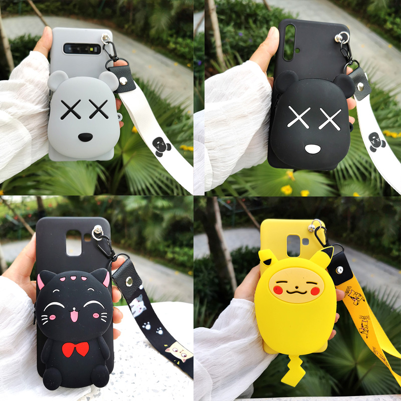 Zipper Wallet Cartoon Phone Case for <font><b>Xiaomi</b></font> <font><b>Redmi</b></font> 8 8A 6 6A 5A 5 Plus Y3 Y2 Soft Silicone <font><b>Redmi</b></font> <font><b>Note</b></font> 4 4X 5 6 7 <font><b>Pro</b></font> 5A 8 <font><b>Pro</b></font> 8T image