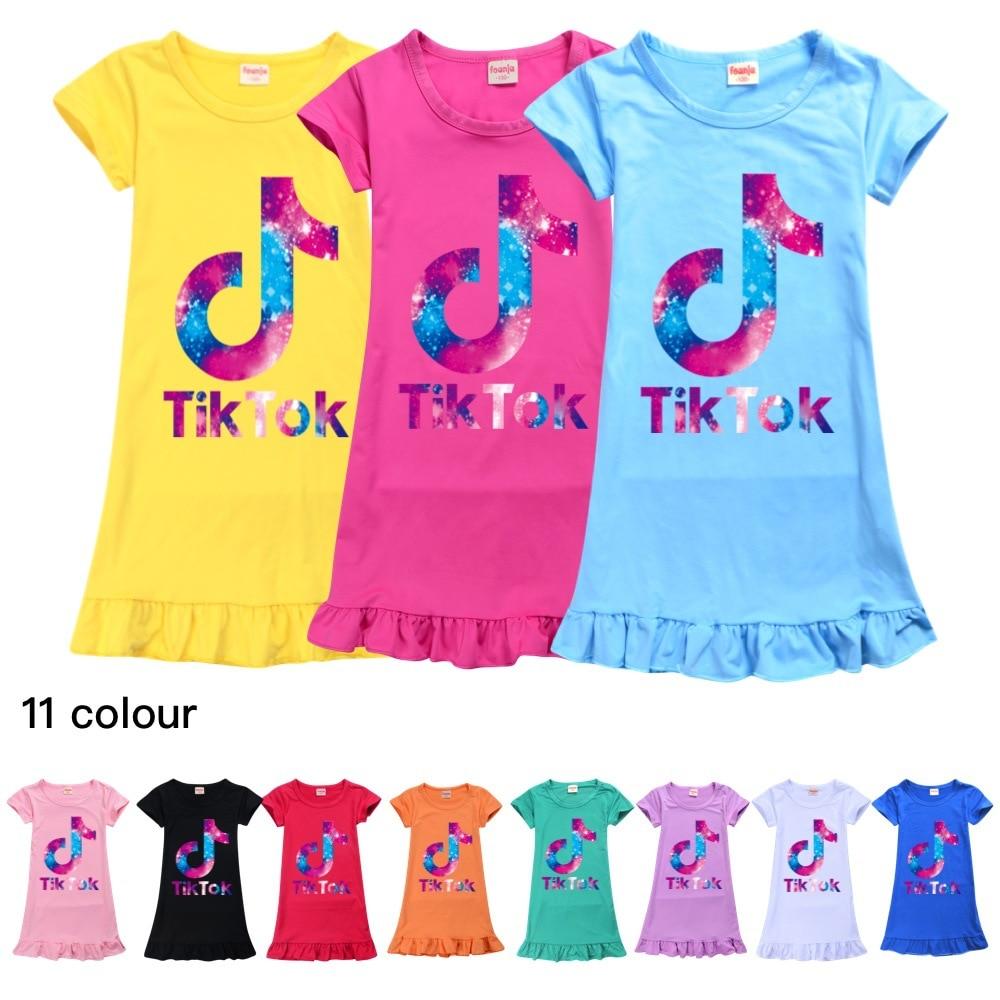 Платье для девочек, халат Tik Tok, мультяшная Пижама для девочек, детская Домашняя одежда, детская одежда, летние новые платья