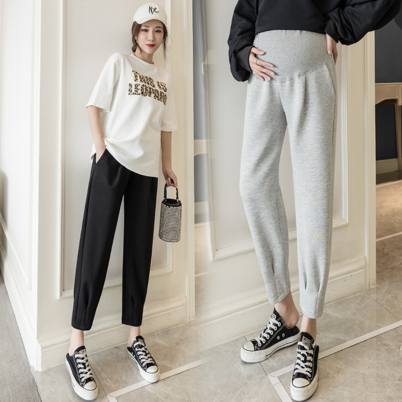 2021 New Women Pregnant Casual Elastic Oversized High Waist Maternity Pants Home Leggings China Factory Loose Cropped Trousers