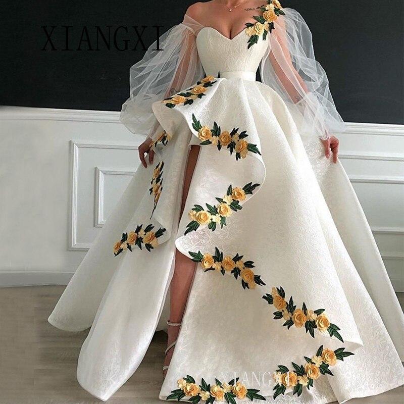 2019 Long Sleeves White Evening Dresses New Ball Gown Split Lace Flowers Islamic Dubai Saudi Arabic Long Formal Gowns Prom Dress