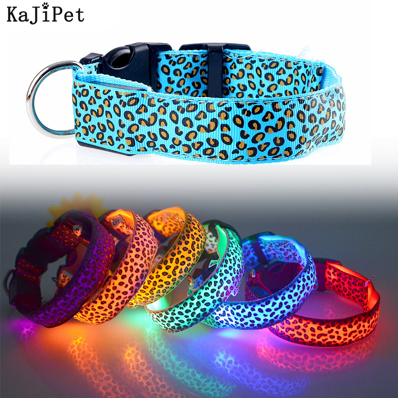 Leopard LED Dog Collar Luminous Adjustable Glowing Collar For Dogs Pet Night Safety Nylon Collar Luminous LED Bright Dog Collar