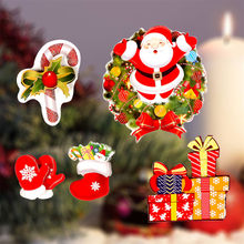 Cartoon Christmas Stickers for Window Showcase Removable Santa Clause Snowman Home Decor Decal Adhesive PVC New Year Glass Mural(China)