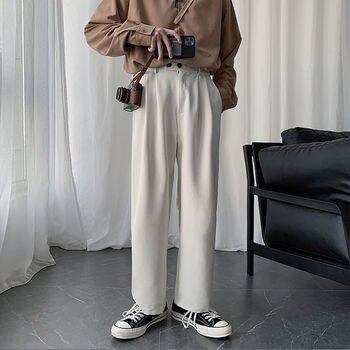 Korean Straight Casual Pants Men's Fashion Solid Color Business Dress Pants Men Streetwear Wild Loose Suit Pants Men Trousers korean style straight pants men s fashion solid color business casual dress pants men streetwear wild loose suit trousers mens