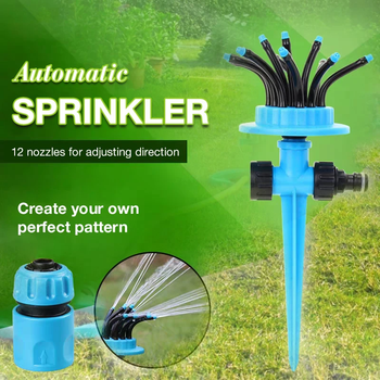 Automatic Multihead Lawn Watering Sprinkler 360 Degree Rotating Garden Water Sprinklers Lawn Irrigation image