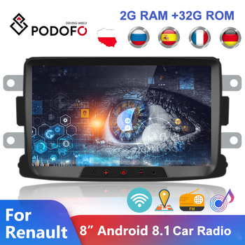 Podofo 2 Din Android 8.1 Car Radio 8'' GPS Wifi Car Multimedia Player Auto Stereo For Renault Sandero Duster Logan Dokker image