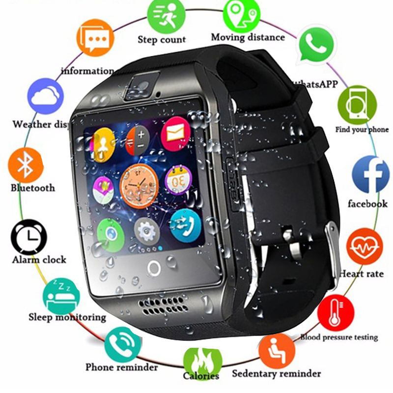 <font><b>Bluetooth</b></font> <font><b>Smart</b></font> <font><b>Watch</b></font> men With Camera Facebook Whatsapp Twitter Sync SMS Smartwatch Support SIM TF Card For IOS Android PK X6 <font><b>A1</b></font> image