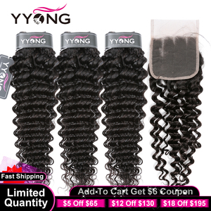 YYong Hair Brazilian Deep Wave Human Hair 3 Bundles With 4x4 5x5 6x6 Lace Closure Remy Brazilian Hair Bundles With Closure