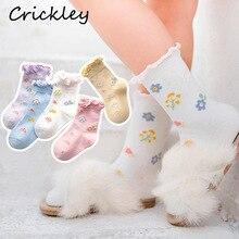 Children Girls Cartoon Flower Pattern Socks for Kids Ruffles Lovely Combed Cotton Baby Winter Toddler