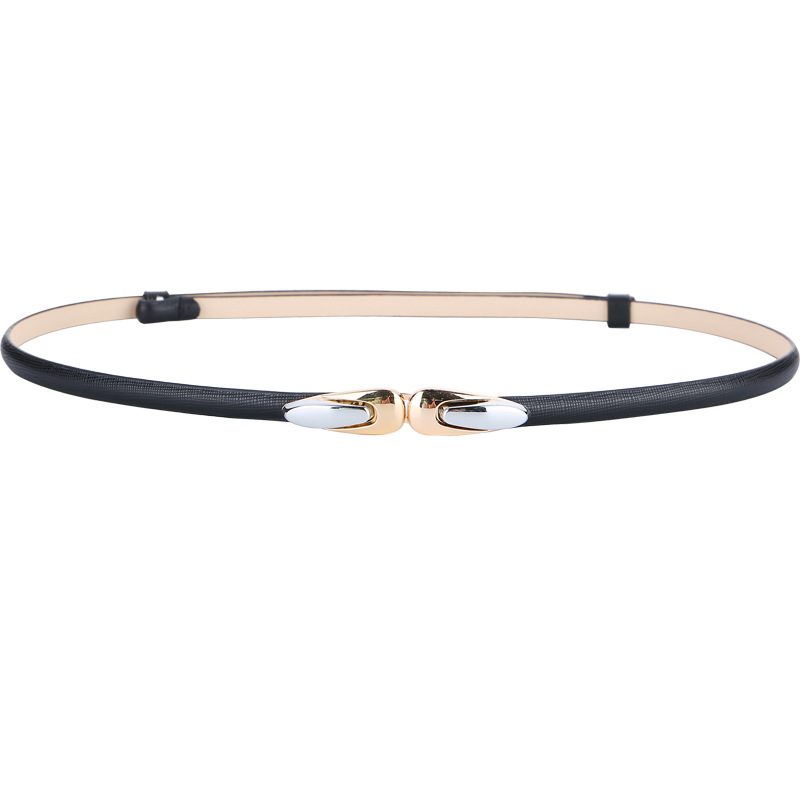 Women's Genuine Leather Belt Adjustable Slim Shiny Alloy Gold Buckle Waistbands For Dress Women Fashion Thin Cowskin Belt Lady