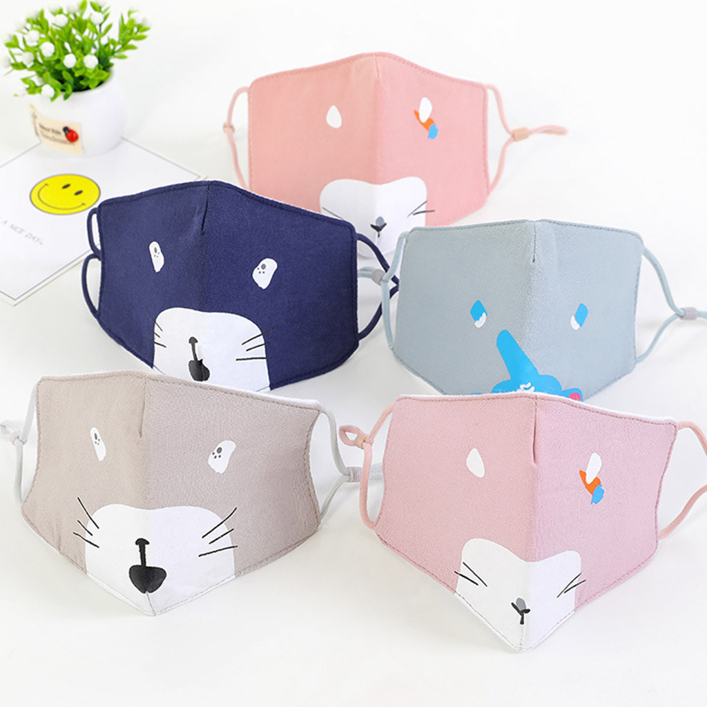 Kids Children Cotton Mouth Masks Anti Pollution 5PC Face Masks Reusable Protection Breathable Respirator Masque Mascarillas