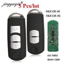 Jingyuqin – clé télécommande intelligente, 5 pièces, pour voiture MAZDA CX-3 CX-5 Axela Atenza modèle No. SKE13E-01 ou SKE13E-02 433mhz ID49
