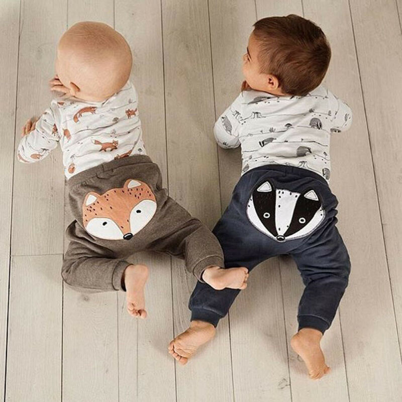 US Newborn Baby Boy Girl 0-18M Fox Print Tops Romper Long Pants Autumn Outfits Clothes