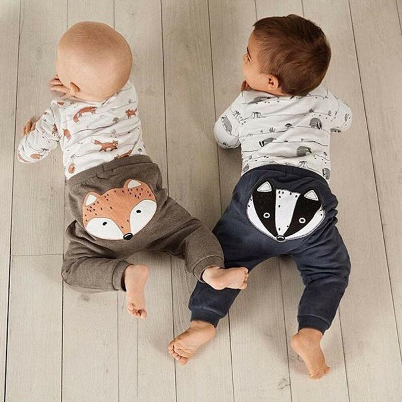 US Newborn Baby Boy Girl 0-18M Fox Print Tops Romper Long Pants Autumn Outfits Clothes