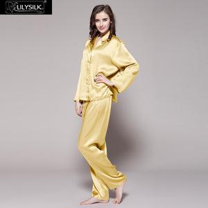 Image 2 - LilySilk 100 Silk Pajama Set Sleep Lounge Pyjamas Natural Skin Care Women 22 Momme Long Sleeve Sleepwear Free Shipping