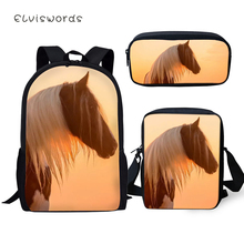 ELVISWORDS Fashion 3PCs Set Backpacks Cute Horse Pattern Kids School Book Bags Cartoon Students Backpack/Flaps Bags/Pen