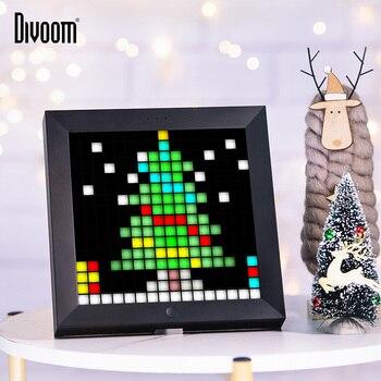 Divoom Pixoo Digitale Foto Rahmen Wecker mit Pixel Kunst Programmierbare Led-anzeige, neon Licht Zeichen für Weihnachten Geschenk & Decor