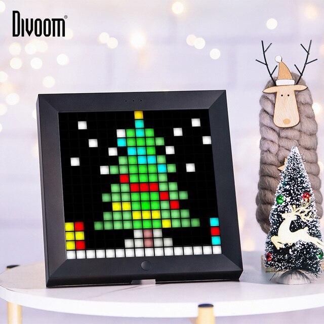 Divoom Pixoo الرقمية إطار صور ساعة تنبيه مع بكسل الفن للبرمجة LED العرض ، النيون ضوء تسجيل ل هدية الكريسماس والديكور