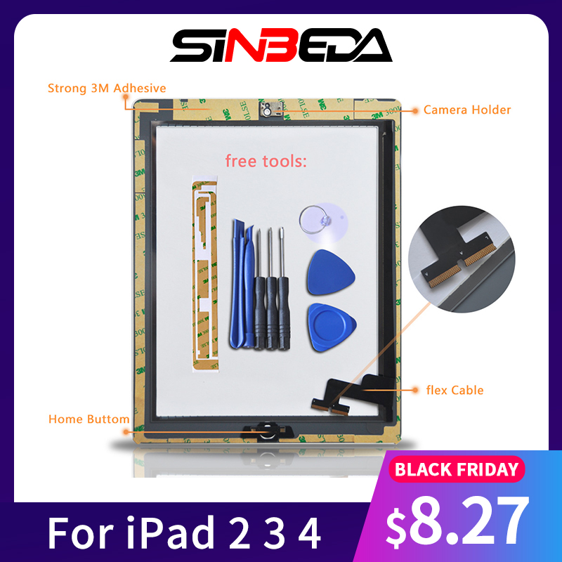 Sinbeda AAA+ Touch Screen For iPad 2 A1396 3 4 Tactil With Home Button A1395 A1403