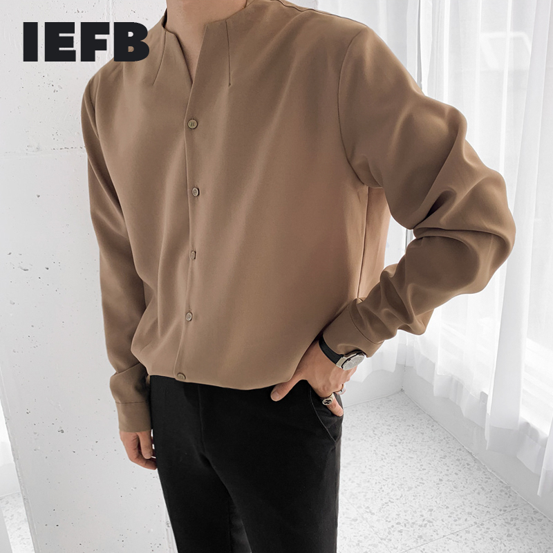 IEFB /men's wear 2020 autumn  casual stand collar solid color shirt for male Personality Trend Handsome Long Sleeve Tops 9Y899 1