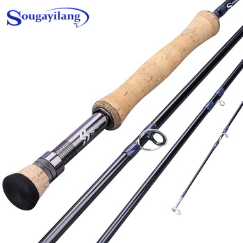 fly fishing rod 6 7 7 8 8 9 saltwater freshwater fly rod with a grade corkwood handle carp rod full aluminum reel seat Sougayilang UltraLight Portable 9ft EVA / Metal Handle Fly Fishing Rod 2.7M 4 Sections Rod Line Wt 5/6 7/8 Fly Fishing Tackle
