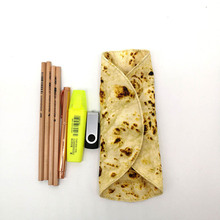 Cosmetic Organizer Makeup Brushes Storage Bag lmitation Biscuits Pattern Stationery Rolled Collection New Creative