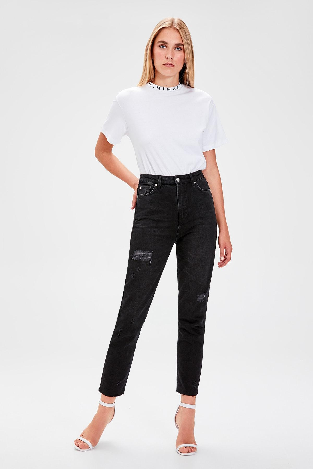 Trendyol Black Ripped Detailed High Bel Mom Jeans TWOAW20JE0077