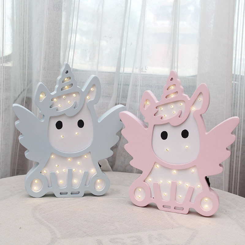 Pink Blue Color Unicorn Design Night Light Battery Power Lovely Lampara Infantil Switch Bb Glow Night Lamp For Baby Boy Girl