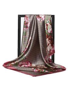 Silk Scarf Shawls Hijab Foulard Satin Square-Head Flower-Print Fashion Women 90--90cm