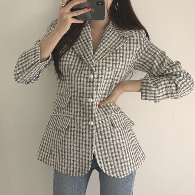 New Spring Elegant Women Plaid Blazers Notched Collar Single Breasted Female Suit Jackets Long Sleeve Office Lady Tops Work Wear