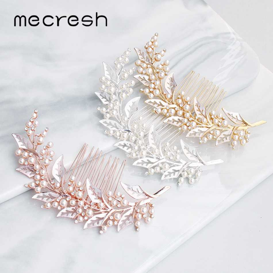 Mecresh Cute Simulated Pearl Bride Hair Comb Headpiece Silver Gold Rose Gold Color Leaf Wedding Hair Accessories for Women FS321