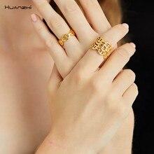 Huanzhi 2019 nova tendência curva linha oca três linhas de rosto largo porco nariz modelagem anéis ajustáveis para mulheres masculinas festa jóias