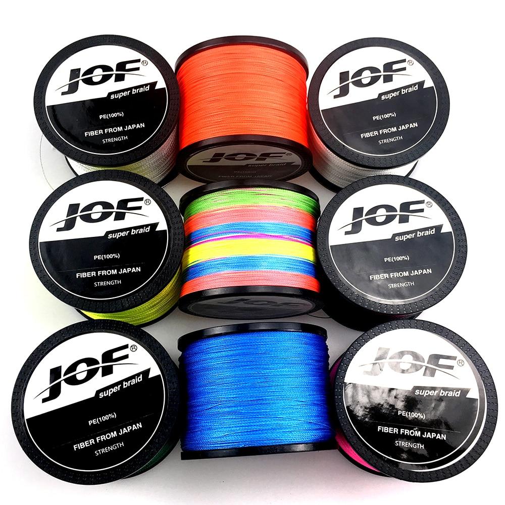 JOF 300M 500M 1000M 4 brins 10-80LB PE tressé fil de pêche ligne de pêche multicolore