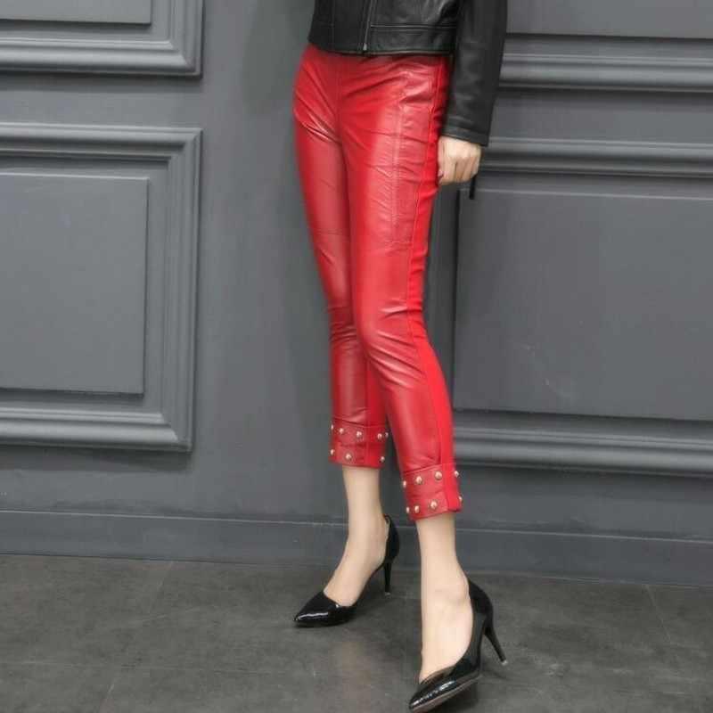 2020 חדש נשים אמיתי כבש עור טלאים סקיני מכנסיים מסמרת חרוזים Slim Fit קרסול ארוך מכנסיים מנוע Biker עור מכנסיים