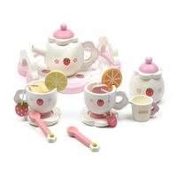 1 Set Wooden Strawberry Afternoon Tea Children's House Tea Set Playhouse Children's Simulation Kitchen Toys