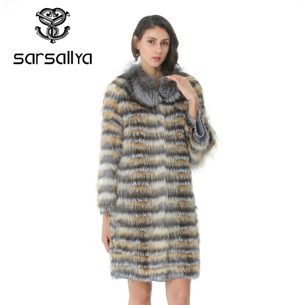 Manteau de fourrure tricoté femmes longue rayure manteau avec col pour dames réel manteau de fourrure renard femelle vêtements automne chaud luxe pardessus 2019