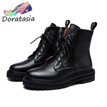 DORATASIA New Hot Sale Brand lace-up Platform Booties Lady Genuine Leather Ankle Boots Women 2019 Casual Med Heels Shoes Woman цена 2017