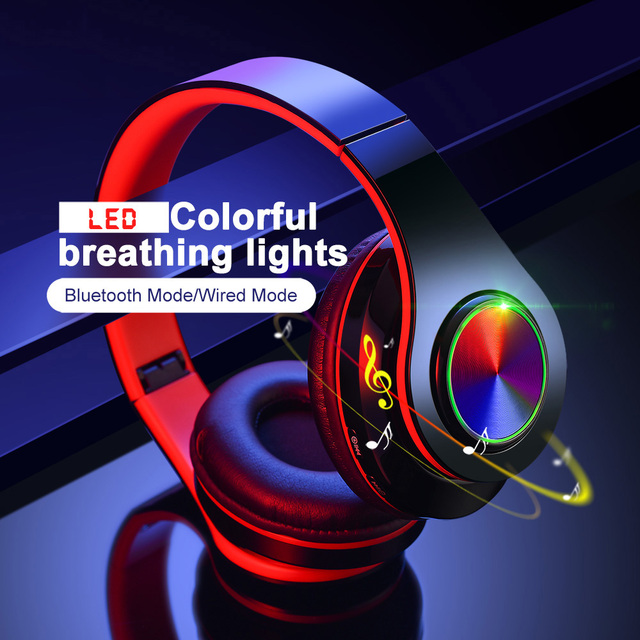 B39 LED Colorful Breathing Lights Bluetooth 5.0 Headphone Portable Folding Wireless Headset Earphone With Mic FM Support TF Card 1