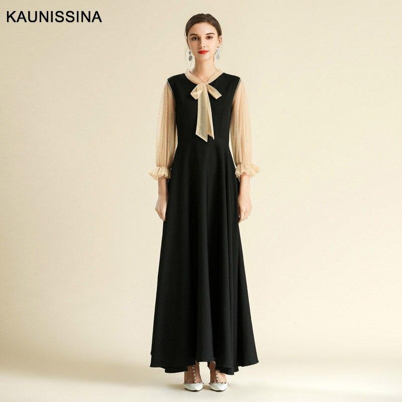 KAUNISSINA robe de soirée longue élégante à manches longues Bownot charmante robes de soirée robes de soirée formelles grande taille