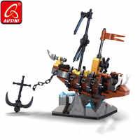 AUSINI Ghost Ship Building Blocks Caribbean Skull Pirate Figure Bricks Toys for Boys Children DIY Designer Kids Model Set Gifts