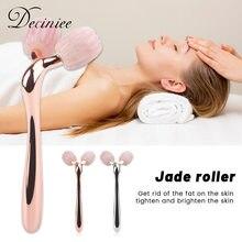 3D wałeczek do masażu twarzy Rose Quartz masażer do twarzy lifting twarzy cienkie zmarszczki usuń rolka jadeitowa do twarzy odchudzanie urządzenie do masażu twarzy