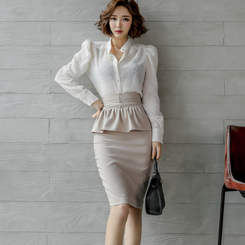 WOMEN'S Suit 2020 Spring Clothing New Products Ol Career Elegant Stand Collar Shirt High-waisted Flounced Skirt Two-Piece Set