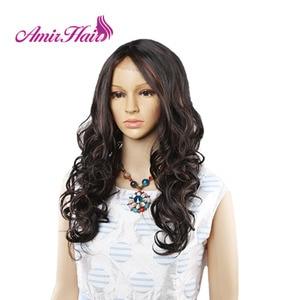 Image 3 - Amir perruque Lace Front synthétique ondulée longue pour femmes au teint noir et blanc, coiffure de Cosplay résistante à la chaleur, Ombre noire, Blonde, rouge