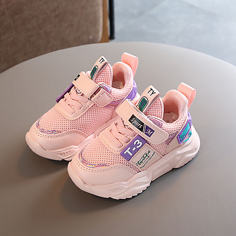 Spring Summer New Soft Cotton Breathable Kids Shoes Sneakers Pink White Girls Shoes Rubber Sole Anti Slip Sports Shoes Sneaker