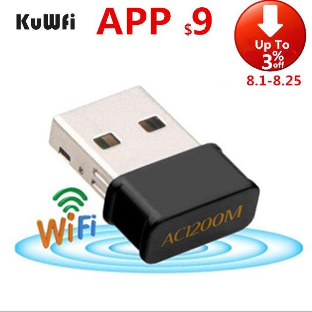 Kuwfi 1200 mbps usb wifi adapte placa de rede banda dupla adaptador wi-fi 2.4g/5.8g antena wi-fi para windowsxp/vista/7/8/10 mac os