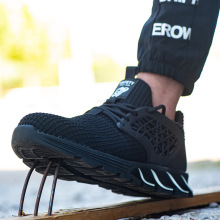 Мужские кроссовки с воздушной подушкой, защитная обувь, мужская легкая, со стальным носком, не разбивающаяся, небьющаяся, Рабочая обувь, сетчатая 337