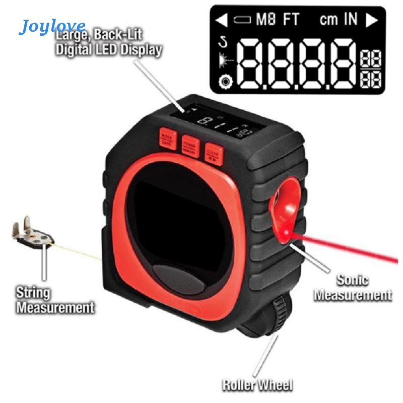JOYLOVE 3 In 1 Measuring Tape With Roll Cord Mode High Accuracy Laser Digital Impact Professional Tool LED Digital Display